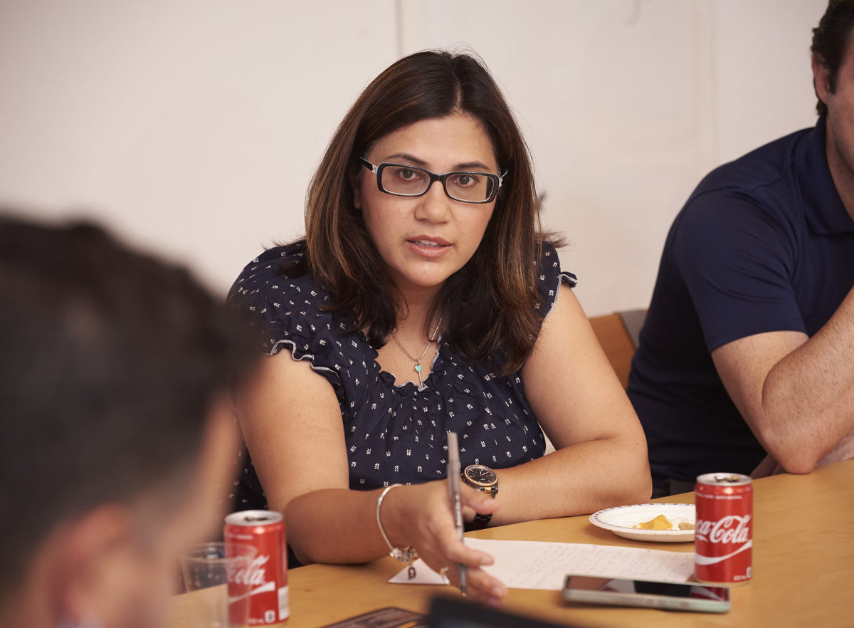 Woman participating in a meeting